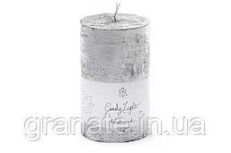 Свеча декоративная 8х15 см, время горения 75 часов, цвет - серебро