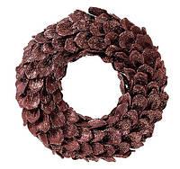 Новогодний венок из лепестков шишек, натуральный коричневый с блестками