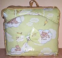 Постельный комплект в детскую кроватку 8-ми предметный, №52,2   карман, мишка на облаках салатовый