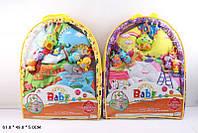 Коврик для малышей 8932ab, с погремушками, на 2-х дугах, 2-вида, в чехле: 61х49х5 см