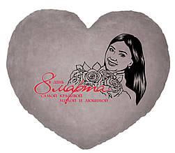 Подушка с фотографией в  форме сердца