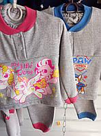 Детская теплая серая пижама начес