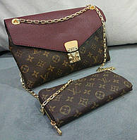 Сумка-клатч на цепочке Louis Vuitton Луи Виттон бордовый