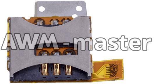 Разъем сим карты Sony Ericsson T707 на шлейфе с коннектором карты памяти и боковыми кнопками - AWMmaster в Одессе