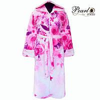 Женский теплый банный зимний махровый халат с капюшоном карманами и молнией