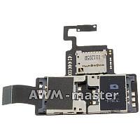 Шлейф HTC Desire V, T328w с двумя сим коннекторами, разъемом карты памяти и кнопкой включения. Оригинал