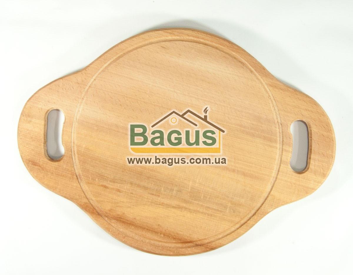 Деревянная подставка 25см (бук) под порционные сковороды с боковыми ушками
