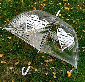Зонт-трость прозрачный с сердечками, фото 2