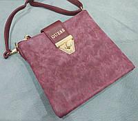 Модная сумка-клатч через плечо Guess Гесс под нубук бордовая