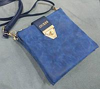Модная сумка-клатч через плечо Guess Гесс под нубук синяя