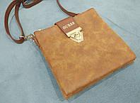 Модная сумка-клатч через плечо Guess Гесс под нубук коричневая
