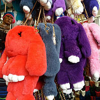 Меховая сумка-рюкзак Зайчик много цветов