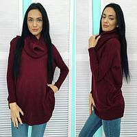 Женский стильный свитер -хомут вязка