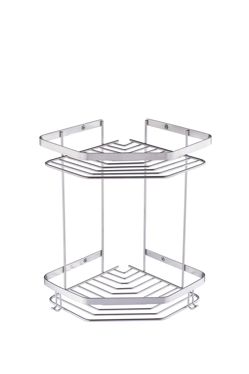 Полка для ванной двойная, нержавеющая сталь 304 марки, 10008