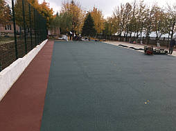 Устройство двухцветного покрытия для спортивной площадки 9