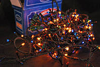 Гирлянда новогодняя 100 лампочек мульти цвет 4,2 метра 3штуки