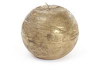 Декоративная свеча в форме шара 12 см, цвет - золото, время горения - 40 ч,