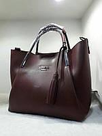 Женская брендовая сумка Guess Гесс качественная эко-кожа бордовая