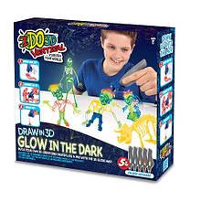 Набір для дитячої творчості з 3D-маркером СВІТЯТЬСЯ В ТЕМРЯВІ (3D-маркер-5 шт, аксесуари)