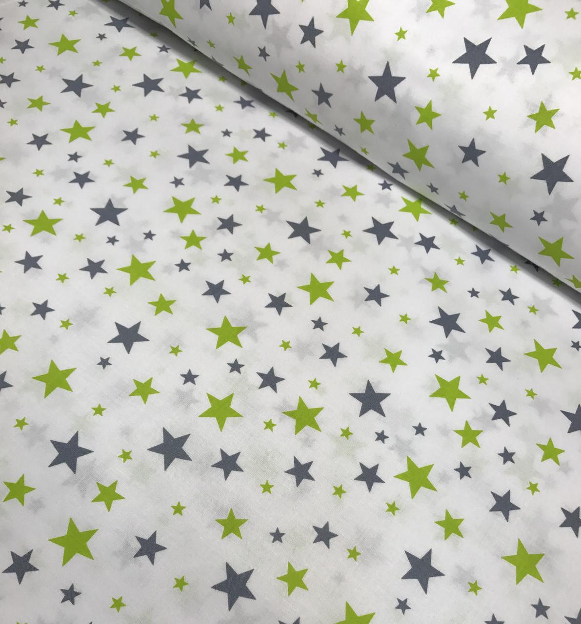 Хлопковая ткань польская звезды серо-салатовые большие и маленькие на белом №410