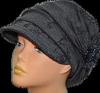 Шапка женская Лана весенняя с козырьком размеров 56-57 и 57-58 бордовый, коричневый, серый, фиолетовый, черный