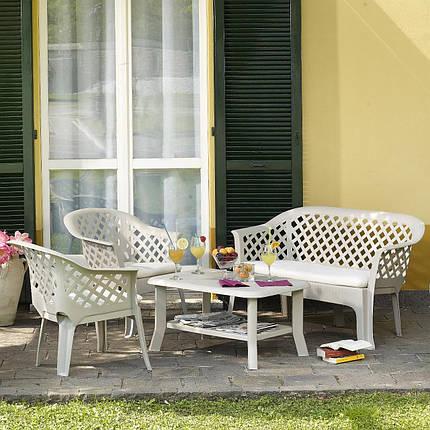 Комплект садовый Veranda set белый (кресло - 2 шт, лавочка - 1 шт, стол - 1 шт), фото 2