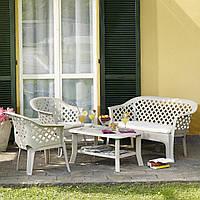 Комплект садовый Veranda set белый (кресло - 2 шт, лавочка - 1 шт, стол - 1 шт)