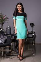Бирюзовое женское платье из креп-шифона