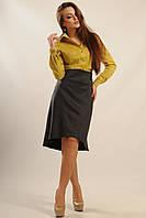 Романтическая демисезонная юбка Селена на подкладке с ассиметричным низом 42-52 размера