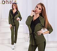 Костюм женский, жакет с карманами и брюки, 2 цвета  арт 2029-1