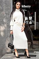 Женский модный очень красивый костюм с юбкой из теплой ангоры рубчик (3 цвета)