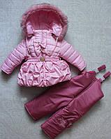 Зимний детский комбинезон для девочек на меху, фото 1