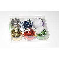 Шарик новогодний пластиковый 6 штук 6 цветов 6 см