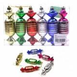 Игрушки форма конфеты новогодние пластиковые в PVC пачке 6 штук 6 цветов