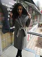 Женское демисезонное пальто на запах, с капюшоном и поясом , фото 1