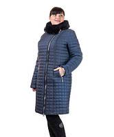 Зимнее пальто женское с мутоном Кубик батал, фото 1