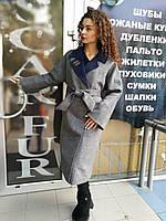 Женское серое демисезонное пальто, большие размеры