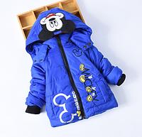 Куртка деми Микки синего цвета для мальчика 2,3,4,5 лет( на рост 90,95,100,110,115)