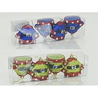 """Ёлочная игрушка """"Костюмчики"""" 01061 - 2 вида, 4 шт в слюде, d=6см"""