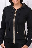 Стильный гламурный спортивный костюм женский Турция однотоный на змейке чёрный XS S M L XL