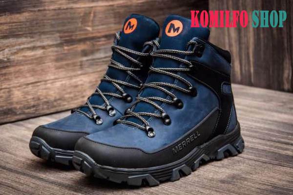 Мужские кожаные зимние ботинки Merrell blue - товар отечественного  производства. Качественные используемые материалы. 8569d3885af