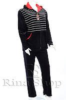 Велюровый спортивный костюм полоска капюшон K101