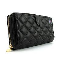 Женский кошелек Chanel черный кожаный на молнии