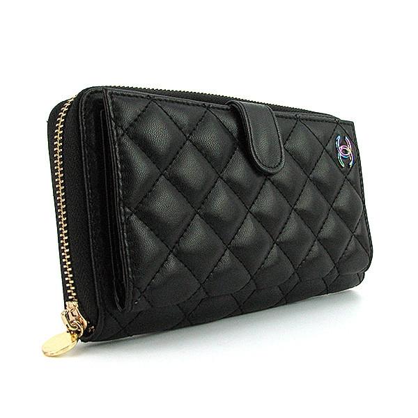 Женский кошелек Chanel черный кожаный на молнии  продажа, цена в ... c58fc548581