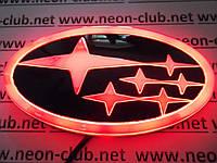 Светящаяся эмблема 4D Subaru/ Субару  красная.