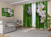 "Фото Шторы на люверсах ""Бамбук и цветы"""