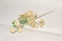 Веточка с цветком и шишками в блестках