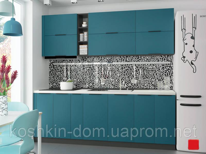 Кухня модульная Flat темно-зеленый 2250 мм MDF крашенный мат