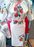 Вышитое женское платье Мак (молочный)