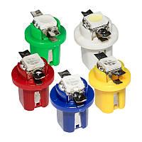 Светодиодная лампа цоколь T5 (W1.2W) 8.5D BAX10d, панель 12х16мм,1-SMD 5050, 15Lm, 12В